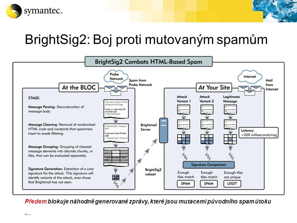 41 – BrightSig2: Boj proti mutovaným spamům Předem blokuje náhodně generované zprávy, které jsou mutacemi původního spam útoku