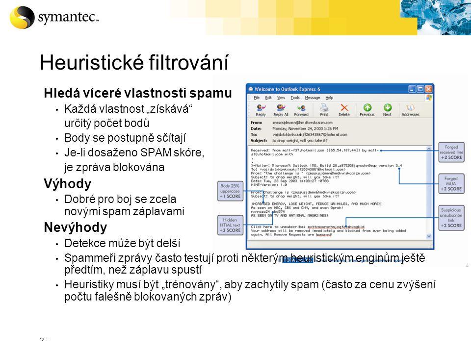 """42 – Heuristické filtrování Hledá víceré vlastnosti spamu Každá vlastnost """"získává"""" určitý počet bodů Body se postupně sčítají Je-li dosaženo SPAM skó"""