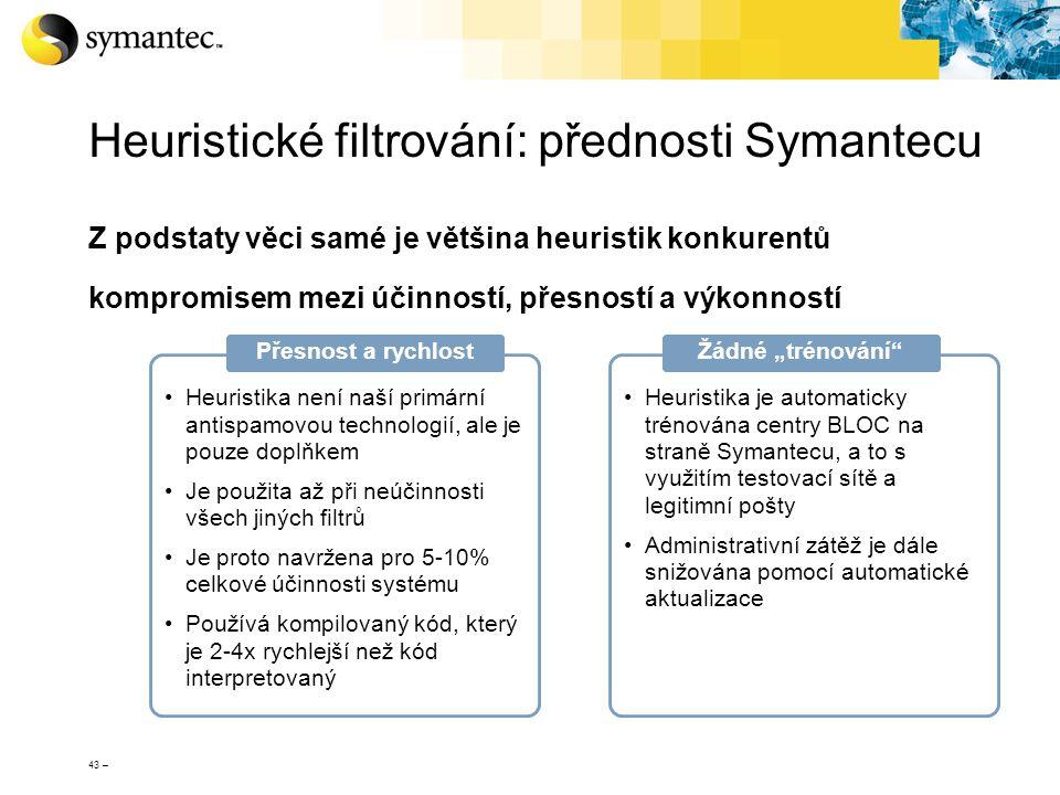 43 – Heuristické filtrování: přednosti Symantecu Z podstaty věci samé je většina heuristik konkurentů kompromisem mezi účinností, přesností a výkonnos