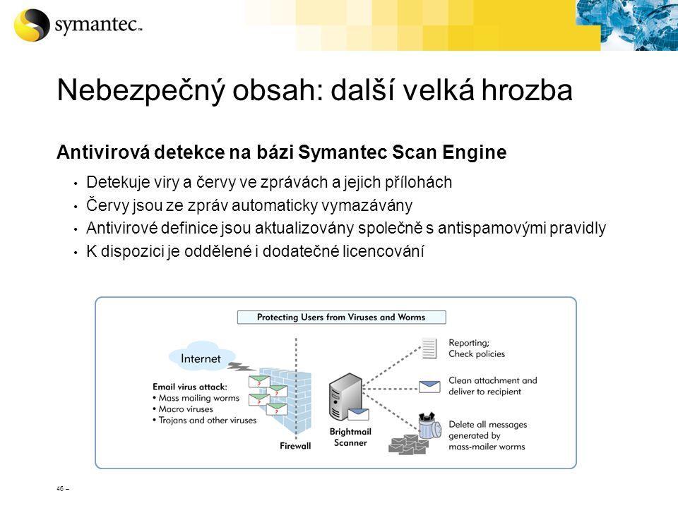 46 – Nebezpečný obsah: další velká hrozba Antivirová detekce na bázi Symantec Scan Engine Detekuje viry a červy ve zprávách a jejich přílohách Červy j