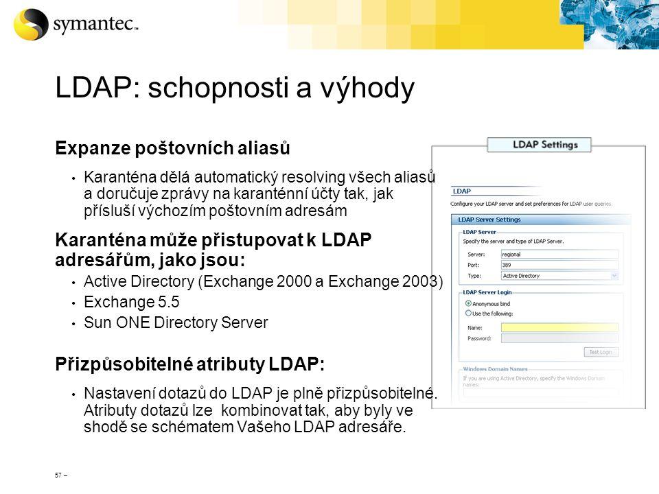 57 – LDAP: schopnosti a výhody Expanze poštovních aliasů Karanténa dělá automatický resolving všech aliasů a doručuje zprávy na karanténní účty tak, j