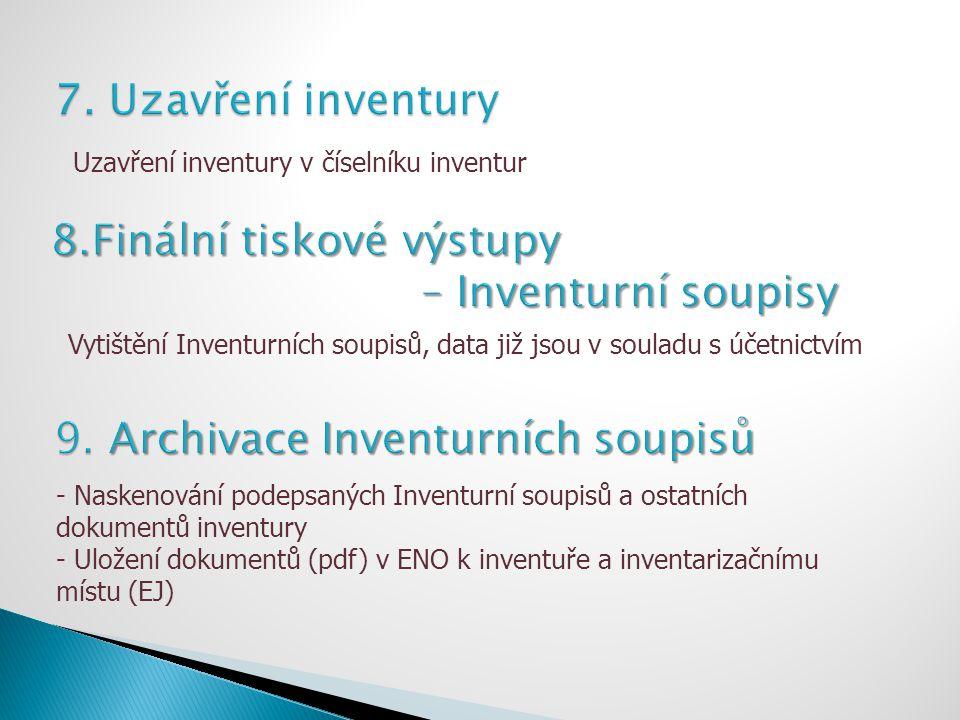 Vytištění Inventurních soupisů, data již jsou v souladu s účetnictvím - Naskenování podepsaných Inventurní soupisů a ostatních dokumentů inventury - U