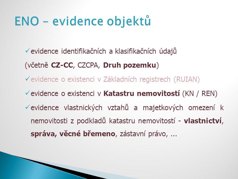 evidence identifikačních a klasifikačních údajů (včetně CZ-CC, CZCPA, Druh pozemku) evidence o existenci v Základních registrech (RUIAN) evidence o ex