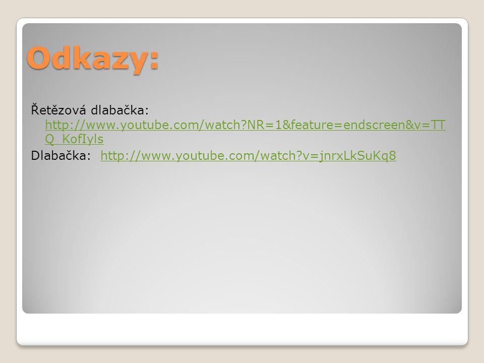 Odkazy: Řetězová dlabačka: http://www.youtube.com/watch?NR=1&feature=endscreen&v=TT Q_KofIyls http://www.youtube.com/watch?NR=1&feature=endscreen&v=TT