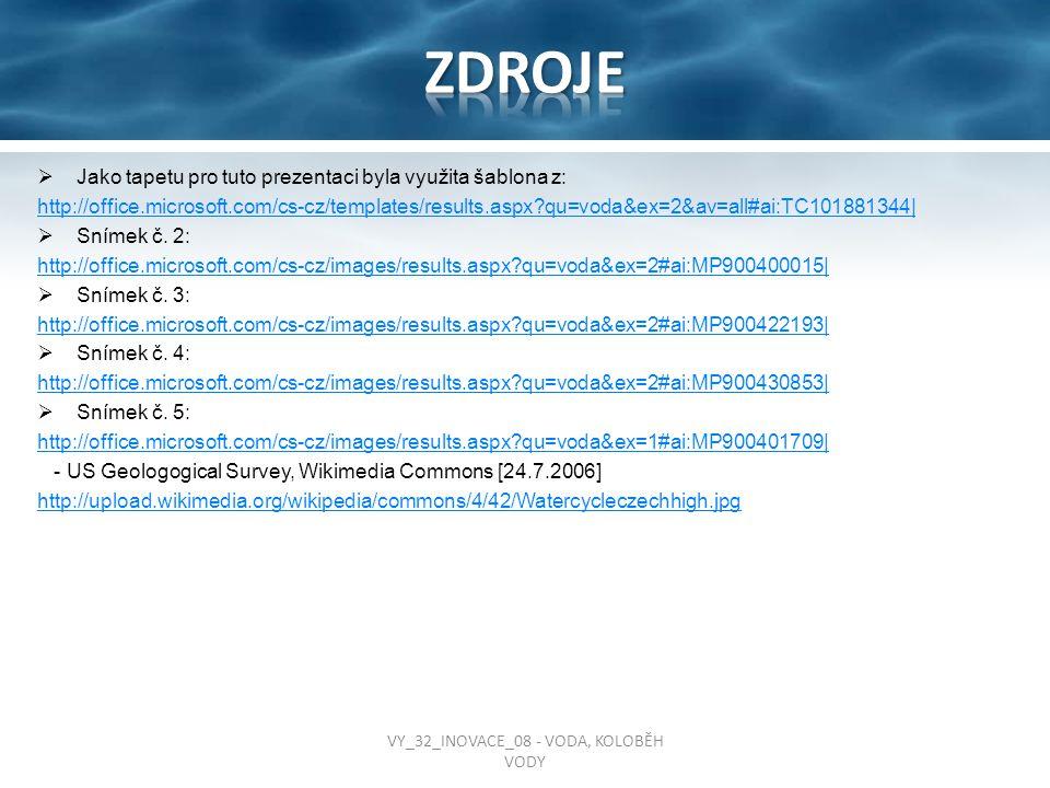  Jako tapetu pro tuto prezentaci byla využita šablona z: http://office.microsoft.com/cs-cz/templates/results.aspx?qu=voda&ex=2&av=all#ai:TC101881344|