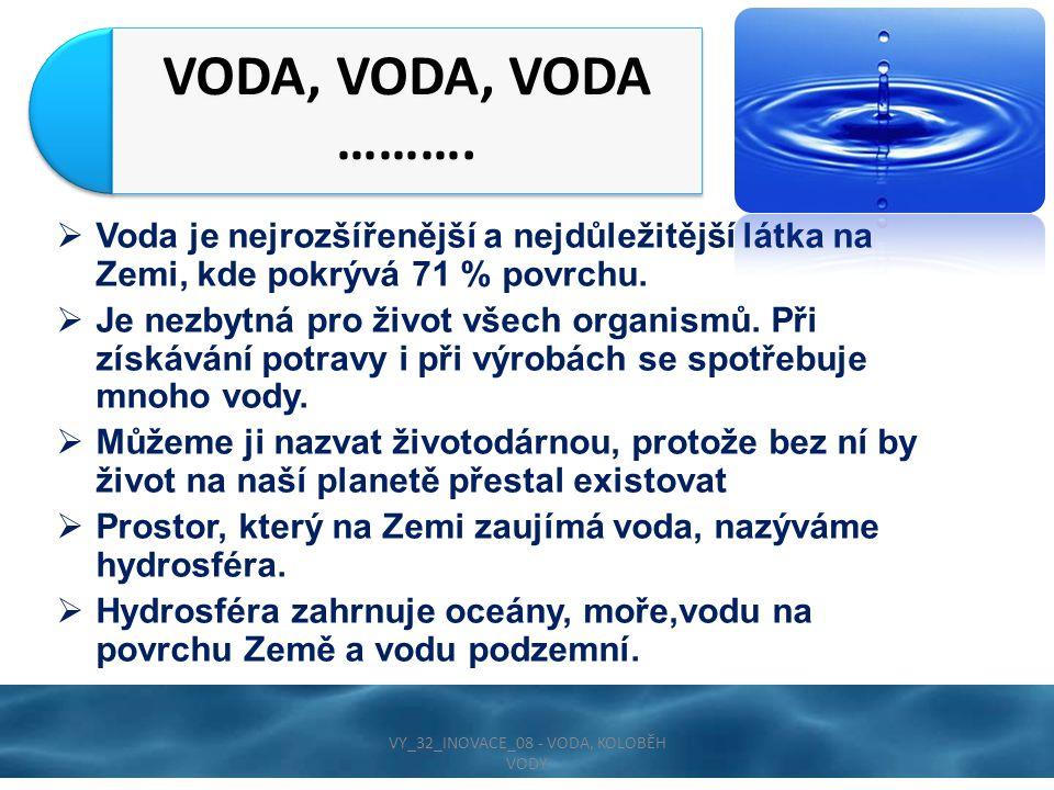  Voda je nejrozšířenější a nejdůležitější látka na Zemi, kde pokrývá 71 % povrchu.  Je nezbytná pro život všech organismů. Při získávání potravy i p