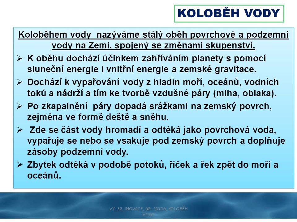 KOLOBĚH VODY VY_32_INOVACE_08 - VODA, KOLOBĚH VODY