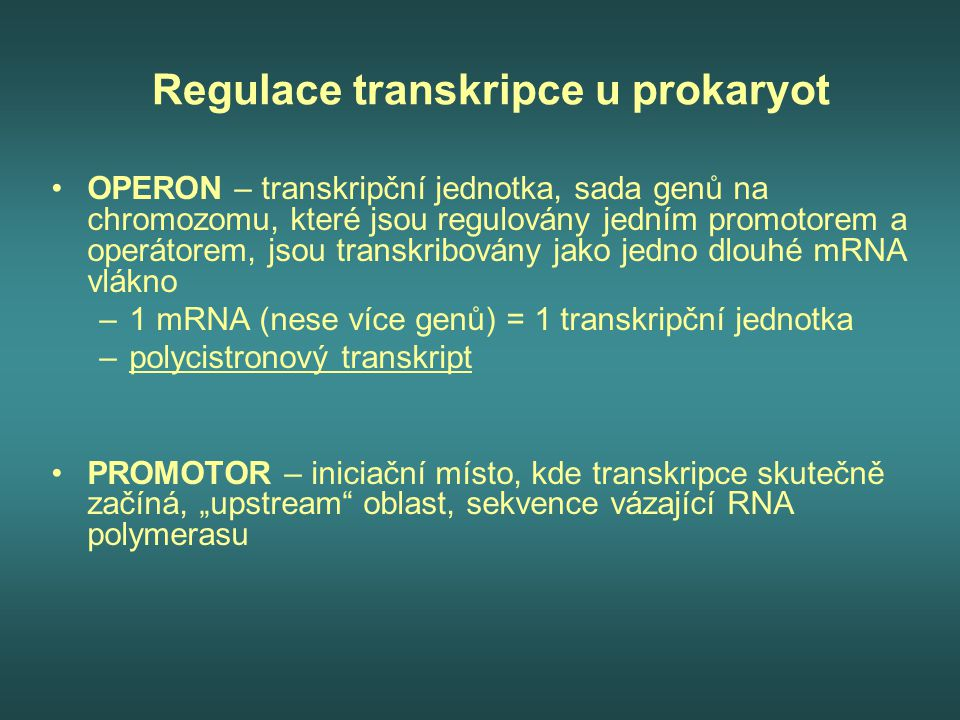 Regulace transkripce u prokaryot OPERON – transkripční jednotka, sada genů na chromozomu, které jsou regulovány jedním promotorem a operátorem, jsou t