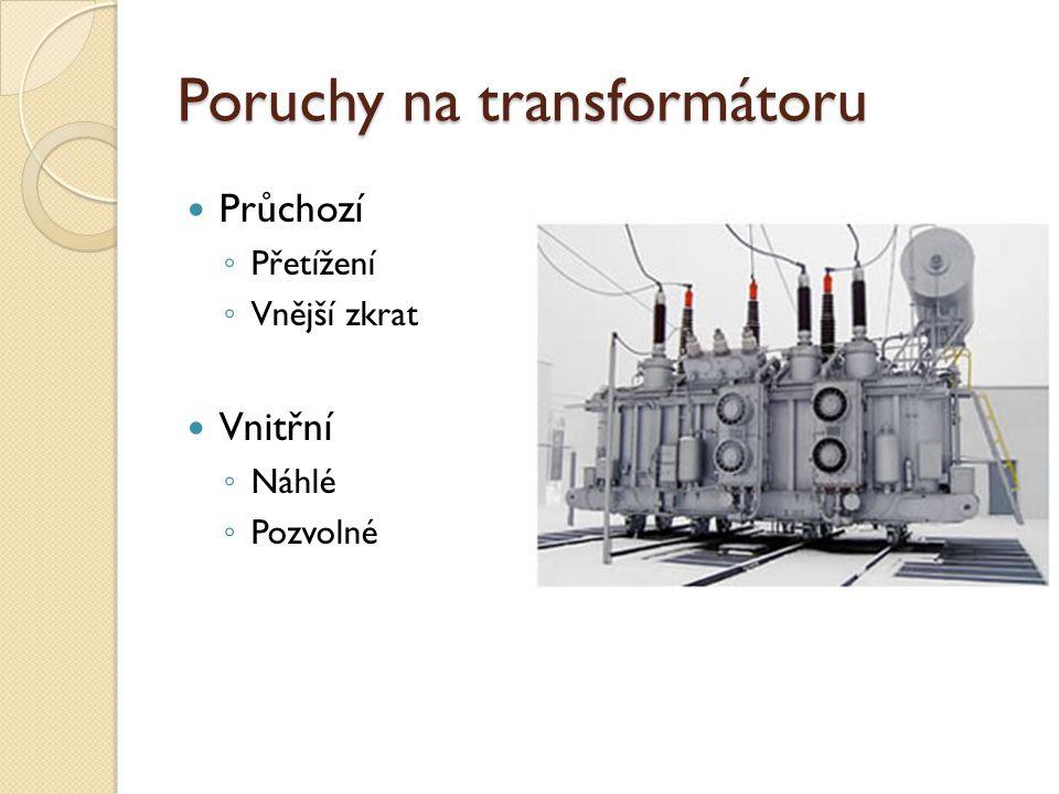 Poruchy na transformátoru Průchozí ◦ Přetížení ◦ Vnější zkrat Vnitřní ◦ Náhlé ◦ Pozvolné