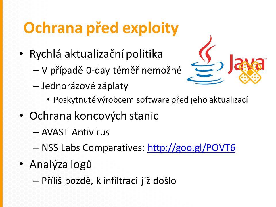Rychlá aktualizační politika – V případě 0-day téměř nemožné – Jednorázové záplaty Poskytnuté výrobcem software před jeho aktualizací Ochrana koncových stanic – AVAST Antivirus – NSS Labs Comparatives: http://goo.gl/POVT6http://goo.gl/POVT6 Analýza logů – Příliš pozdě, k infiltraci již došlo Ochrana před exploity