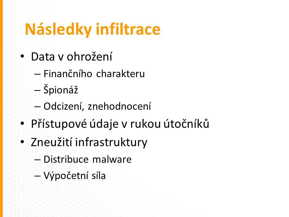 Data v ohrožení – Finančního charakteru – Špionáž – Odcizení, znehodnocení Přístupové údaje v rukou útočníků Zneužití infrastruktury – Distribuce malware – Výpočetní síla Následky infiltrace