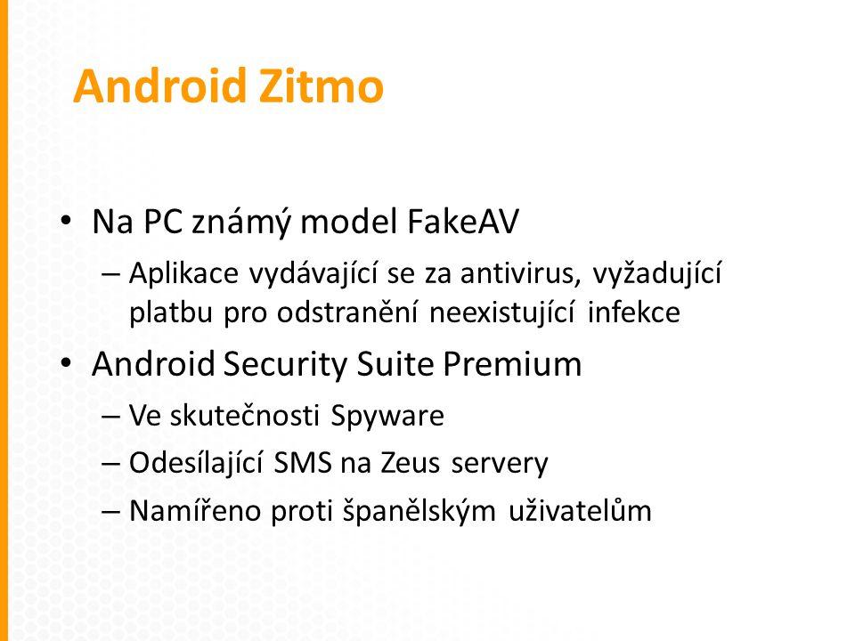 Na PC známý model FakeAV – Aplikace vydávající se za antivirus, vyžadující platbu pro odstranění neexistující infekce Android Security Suite Premium – Ve skutečnosti Spyware – Odesílající SMS na Zeus servery – Namířeno proti španělským uživatelům Android Zitmo