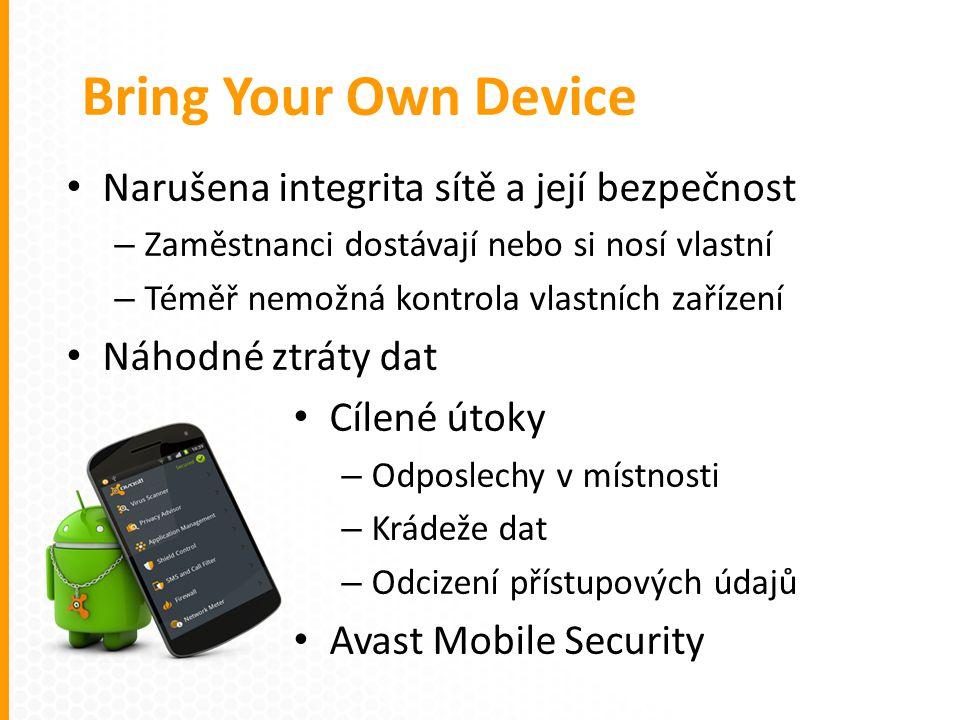 Narušena integrita sítě a její bezpečnost – Zaměstnanci dostávají nebo si nosí vlastní – Téměř nemožná kontrola vlastních zařízení Náhodné ztráty dat Cílené útoky – Odposlechy v místnosti – Krádeže dat – Odcizení přístupových údajů Avast Mobile Security Bring Your Own Device