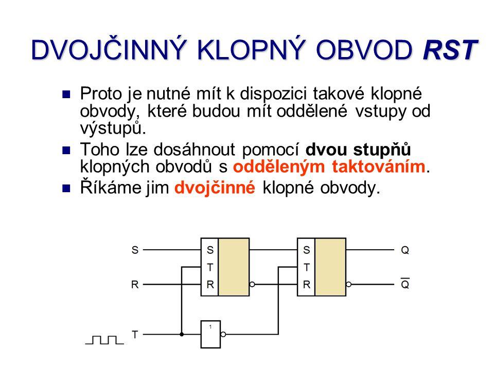 Dvojčinný klopný obvod RST se skládá ze dvou klopných obvodů RST a z invertoru, který odděluje taktovací signál obou obvodů.
