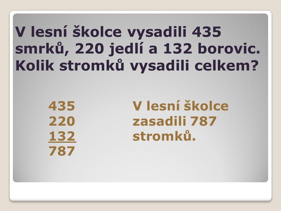 V lesní školce vysadili 435 smrků, 220 jedlí a 132 borovic. Kolik stromků vysadili celkem? 435V lesní školce 220zasadili 787 132stromků. 787