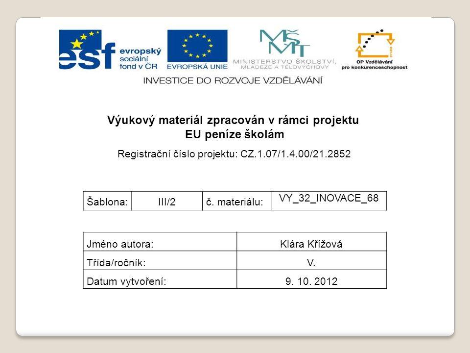 Výukový materiál zpracován v rámci projektu EU peníze školám Registrační číslo projektu: CZ.1.07/1.4.00/21.2852 Šablona:III/2č. materiálu: VY_32_INOVA