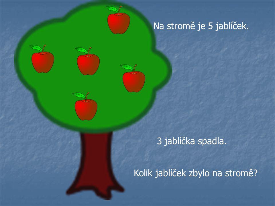 Na stromě je 5 jablíček. 3 jablíčka spadla. Kolik jablíček zbylo na stromě?