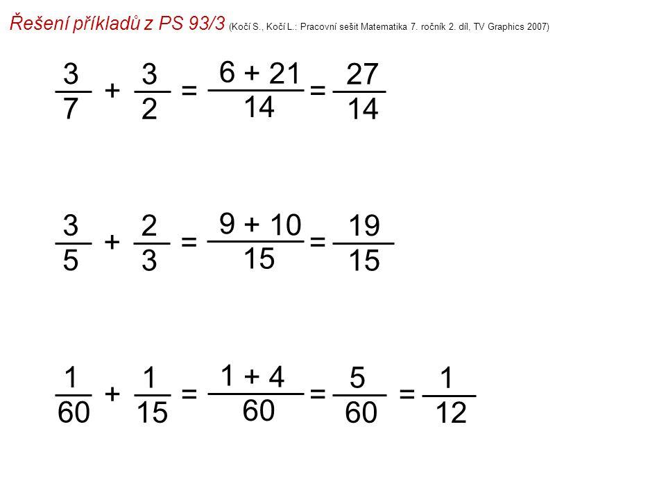 Řešení příkladů z PS 93/3 (Kočí S., Kočí L.: Pracovní sešit Matematika 7. ročník 2. díl, TV Graphics 2007) 3 7 6 14 = 27 14 =+ 3 2 + 21 3 5 9 15 = 19