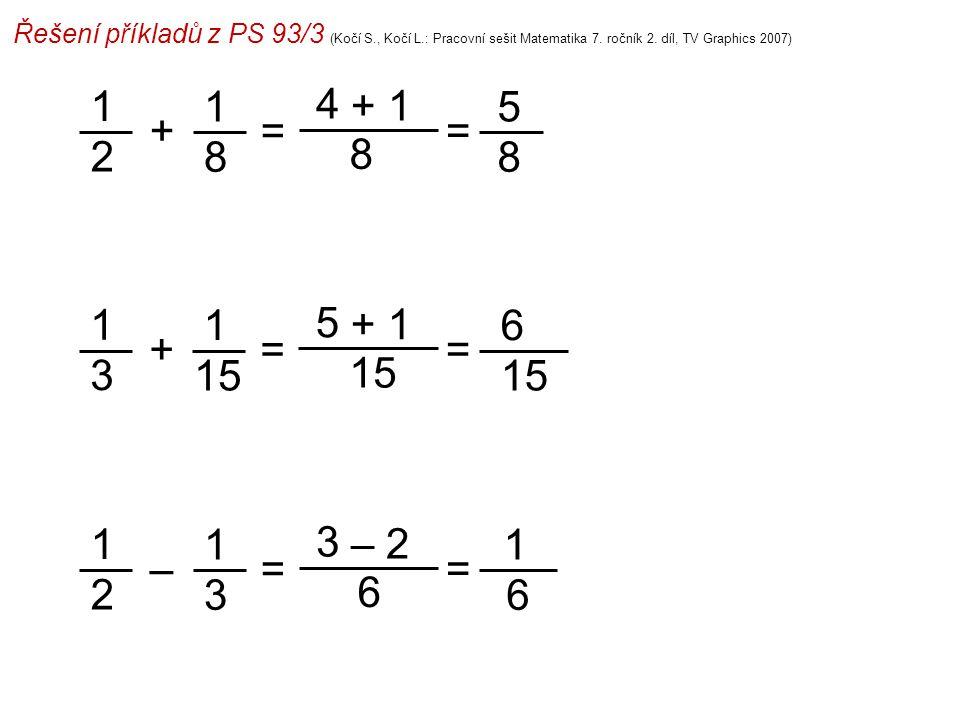 Řešení příkladů z PS 93/3 (Kočí S., Kočí L.: Pracovní sešit Matematika 7. ročník 2. díl, TV Graphics 2007) 1 2 4 8 = 5 8 =+ 1 8 + 1 1 3 5 15 = 6 =+ 1