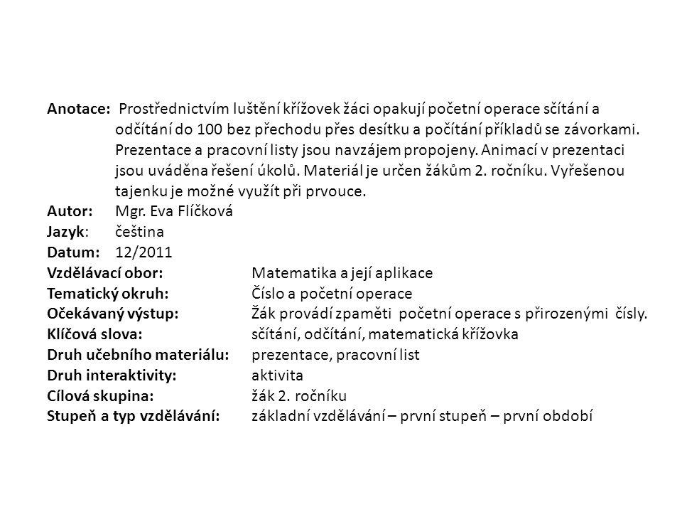 MATEMATICKÉ KŘÍŽOVKY pro 2.
