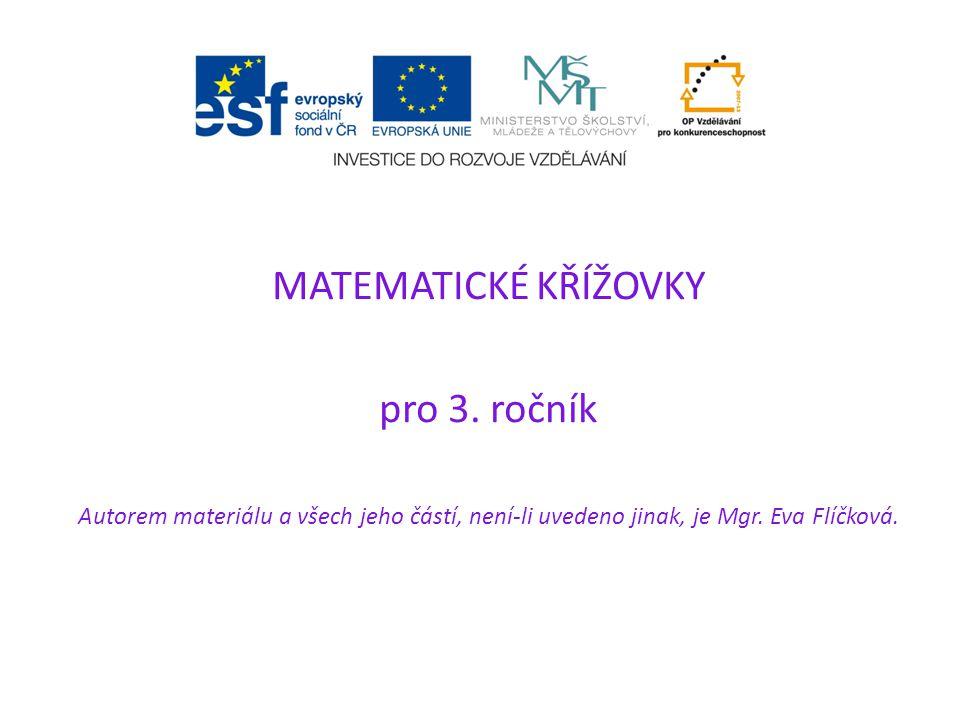 MATEMATICKÉ KŘÍŽOVKY pro 3.