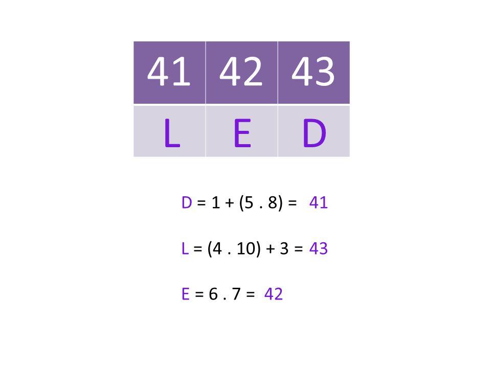 414243 D = 1 + (5. 8) = L = (4. 10) + 3 = E = 6. 7 = 41 43 42 L E D