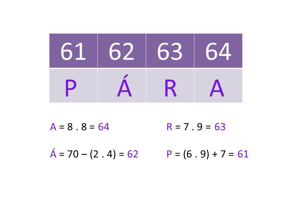 61626364 A = 8. 8 =R = 7. 9 = Á = 70 – (2. 4) =P = (6. 9) + 7 = 64 63 62 61 P Á RA