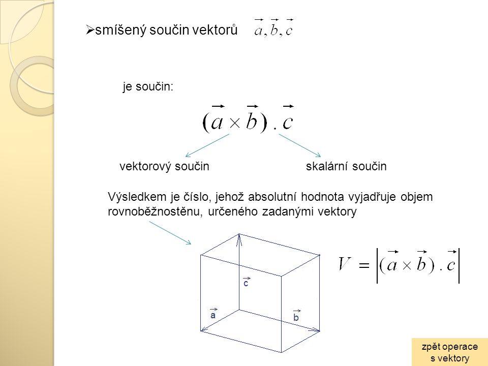  smíšený součin vektorů skalární součinvektorový součin je součin: Výsledkem je číslo, jehož absolutní hodnota vyjadřuje objem rovnoběžnostěnu, určen