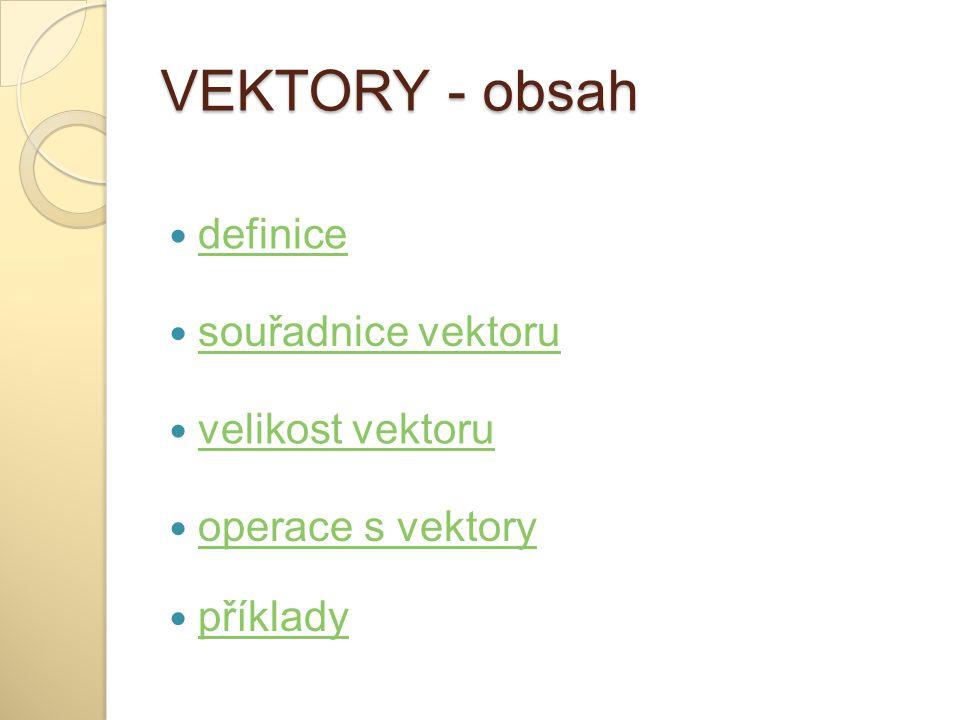 VEKTORY - obsah definice souřadnice vektoru velikost vektoru operace s vektory příklady