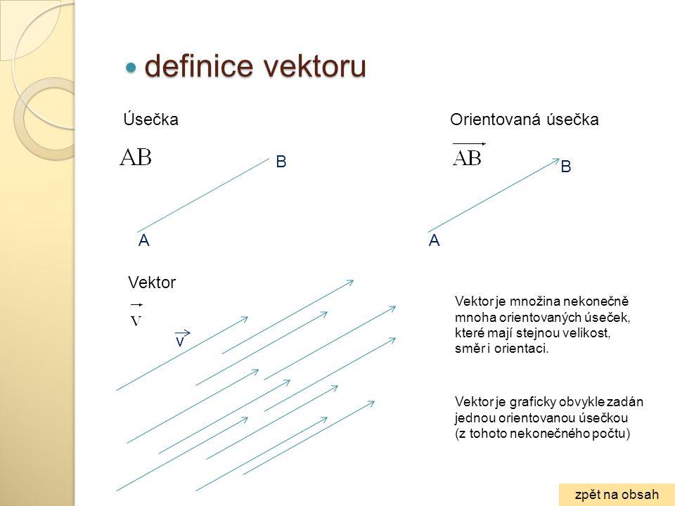 ÚsečkaOrientovaná úsečka Vektor Vektor je množina nekonečně mnoha orientovaných úseček, které mají stejnou velikost, směr i orientaci. Vektor je grafi