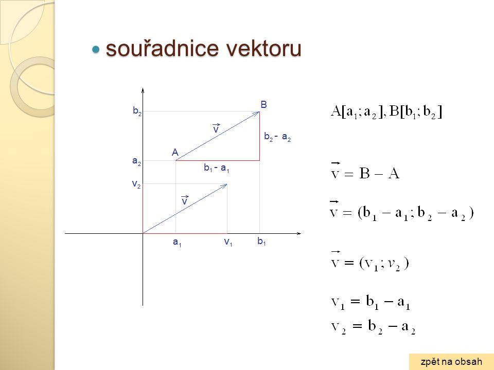 souřadnice vektoru souřadnice vektoru zpět na obsah