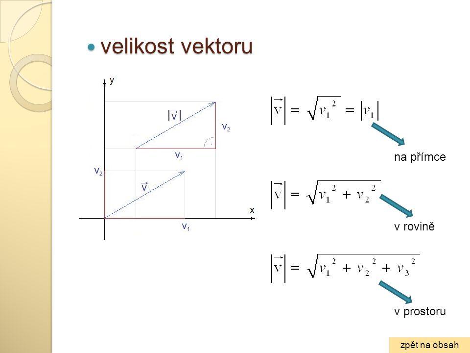 velikost vektoru velikost vektoru v rovině v prostoru na přímce zpět na obsah