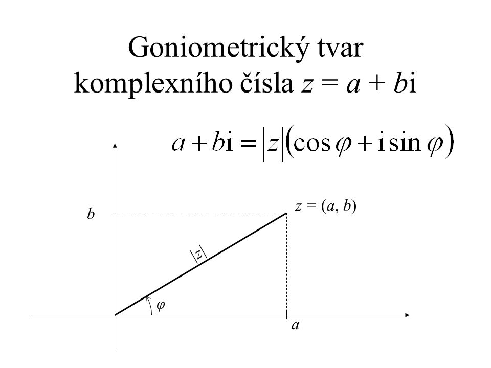 Goniometrický tvar komplexního čísla z = a + bi a b z = (a, b) |z||z| φ