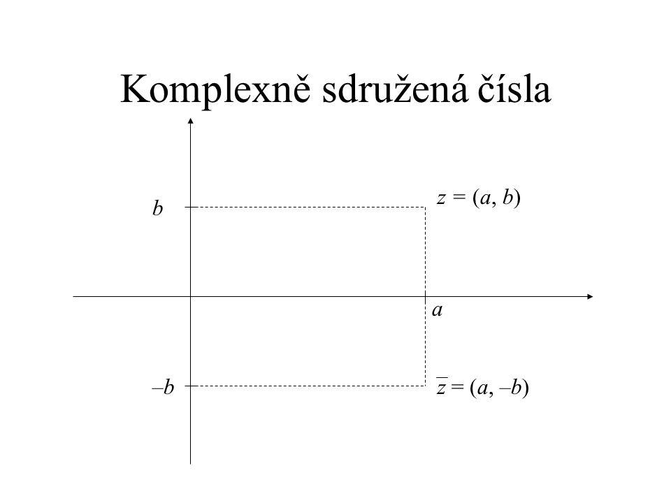 Komplexně sdružená čísla a b z = (a, b) –b–bz = (a, –b)