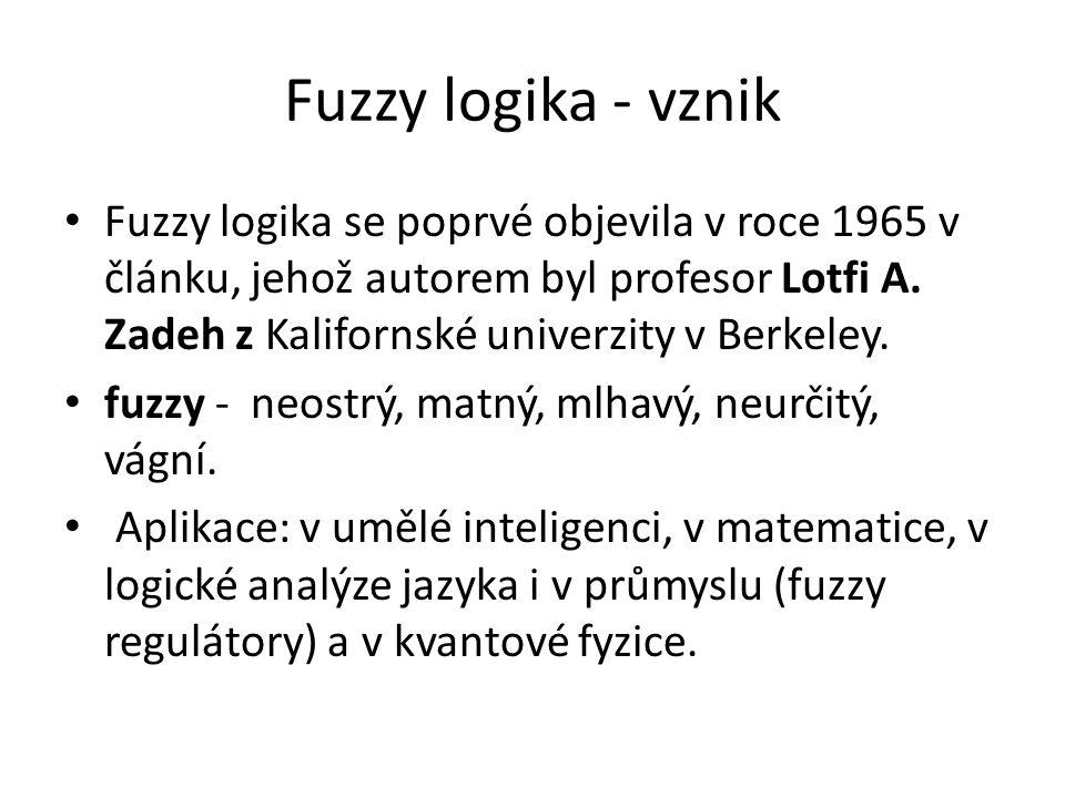 Fuzzy logika - vznik Fuzzy logika se poprvé objevila v roce 1965 v článku, jehož autorem byl profesor Lotfi A. Zadeh z Kalifornské univerzity v Berkel