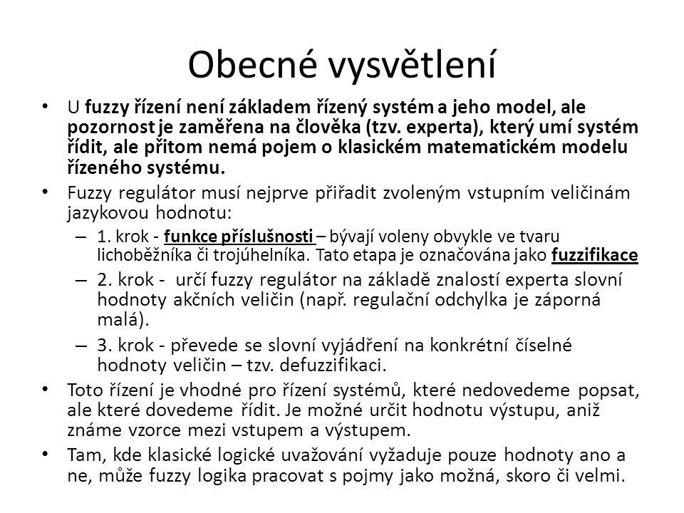 Obecné vysvětlení U fuzzy řízení není základem řízený systém a jeho model, ale pozornost je zaměřena na člověka (tzv. experta), který umí systém řídit
