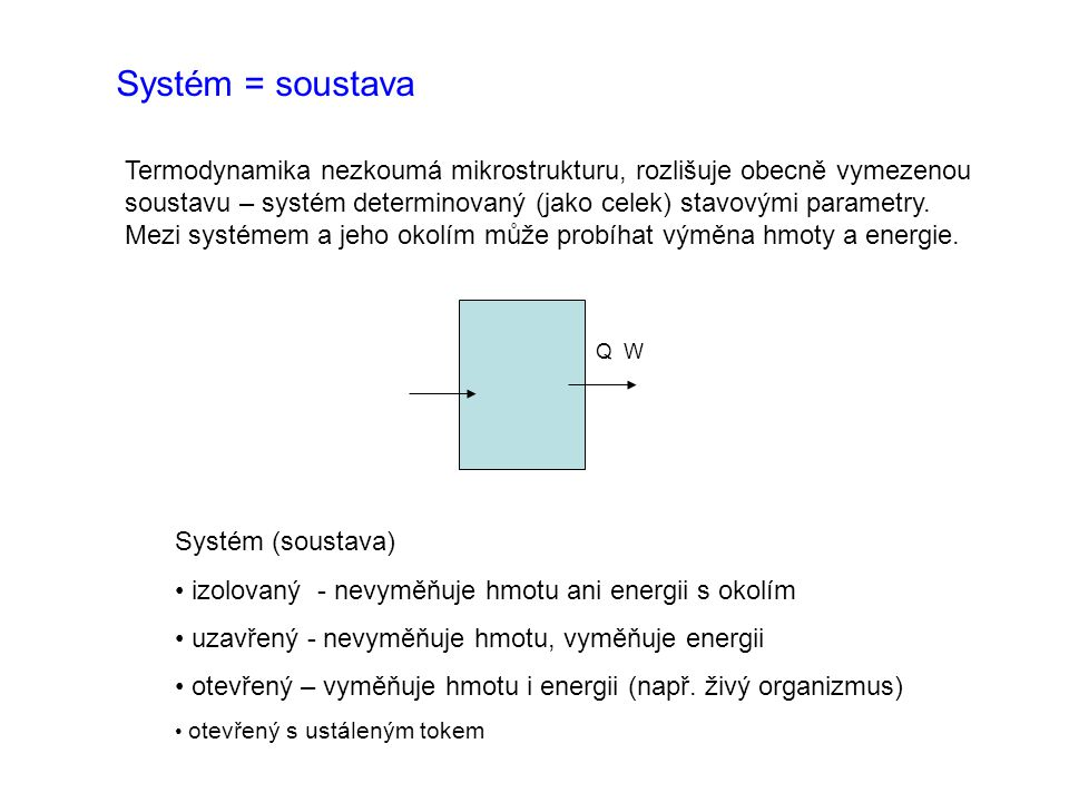 Formy energie vyměňované s okolím Teplo Q - v ýměna probíhá v důsledku teplotního rozdílu Práce W - výměna probíhá působením sil - objemová – změna objemu media tvořícího soustavu - mechanická Znaménková konvence Vždy je odčítán počáteční stav od konečného (obecně platné - v matematice viz.