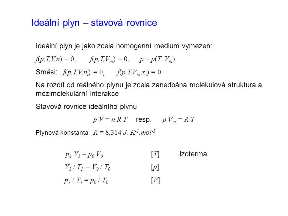 Ideální plyn – stavová rovnice Ideální plyn je jako zcela homogenní medium vymezen: f(p,T,V,n) = 0, f(p,T,V m ) = 0, p = p(T, V m ) Směsi: f(p,T,V,n i ) = 0, f(p,T,V m,x i ) = 0 Na rozdíl od reálného plynu je zcela zanedbána molekulová struktura a mezimolekulární interakce Stavová rovnice ideálního plynu p V = n R T resp.