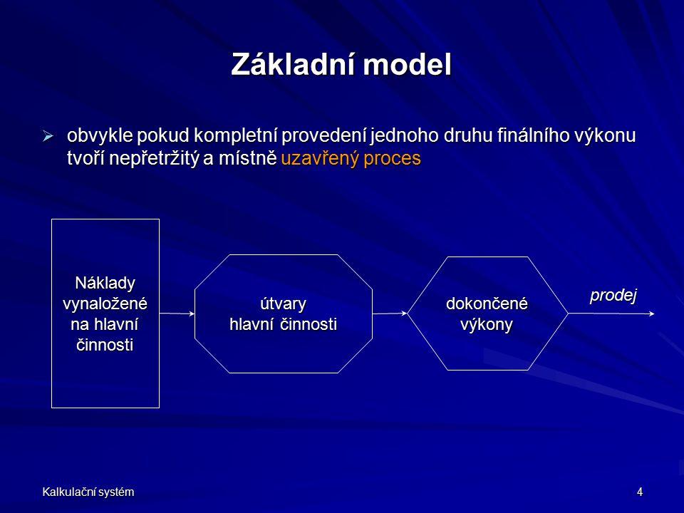 Kalkulační systém 4 Základní model  obvykle pokud kompletní provedení jednoho druhu finálního výkonu tvoří nepřetržitý a místně uzavřený proces Nákla