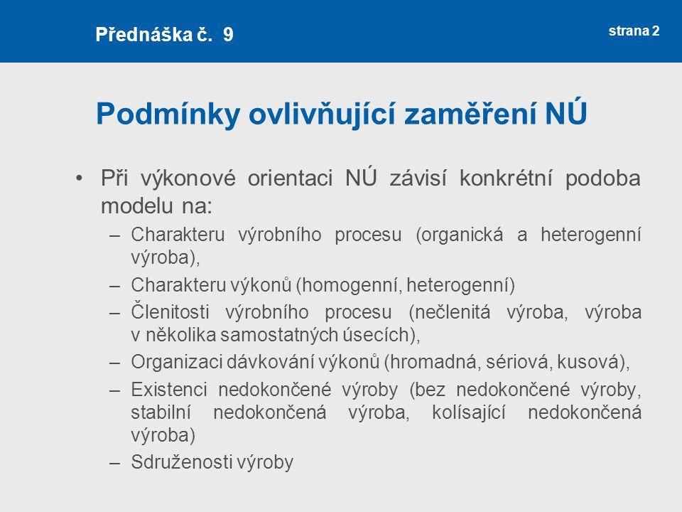 Sestavení výsledné kalkulace strana 13 Přednáška č.