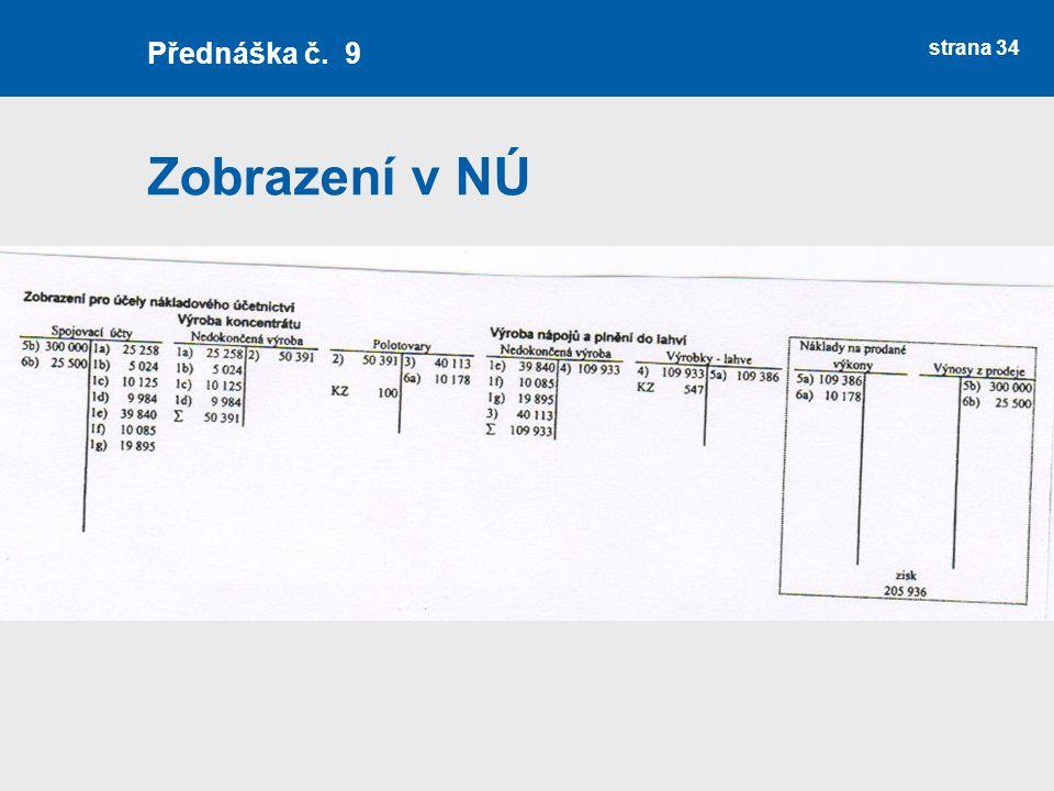Zobrazení v NÚ strana 34 Přednáška č. 9