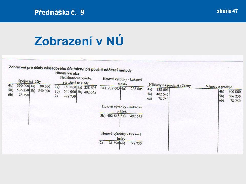 Zobrazení v NÚ strana 47 Přednáška č. 9