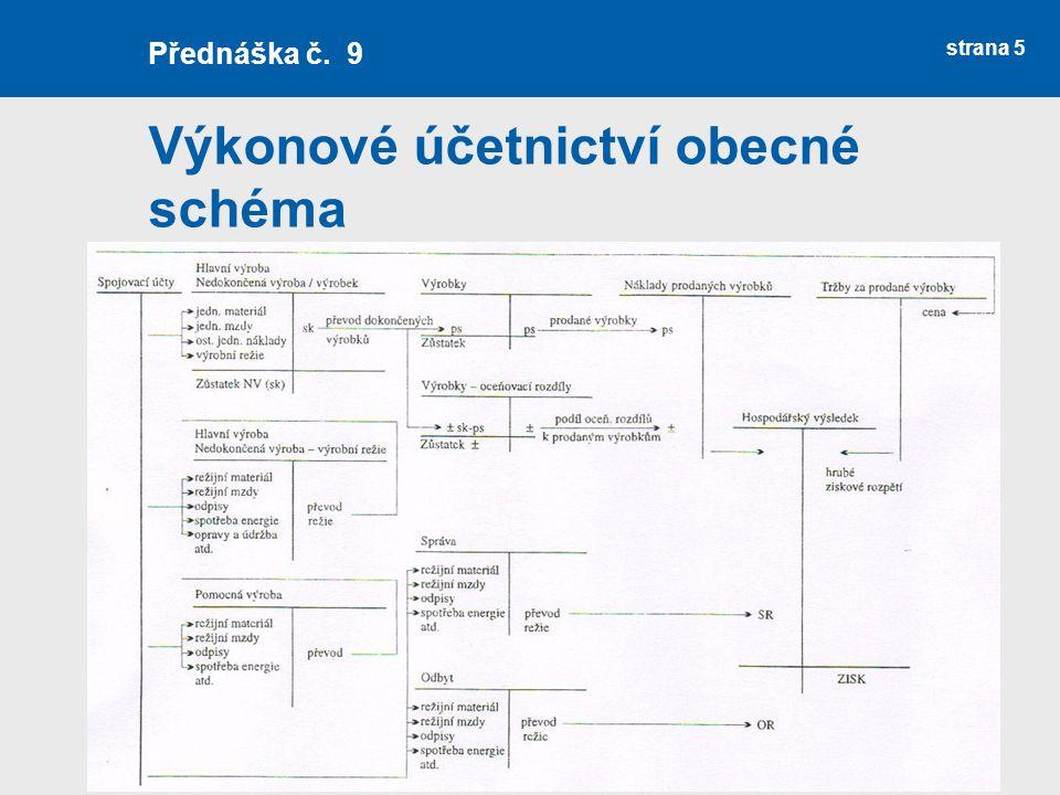 Výkonové účetnictví obecné schéma strana 5 Přednáška č. 9
