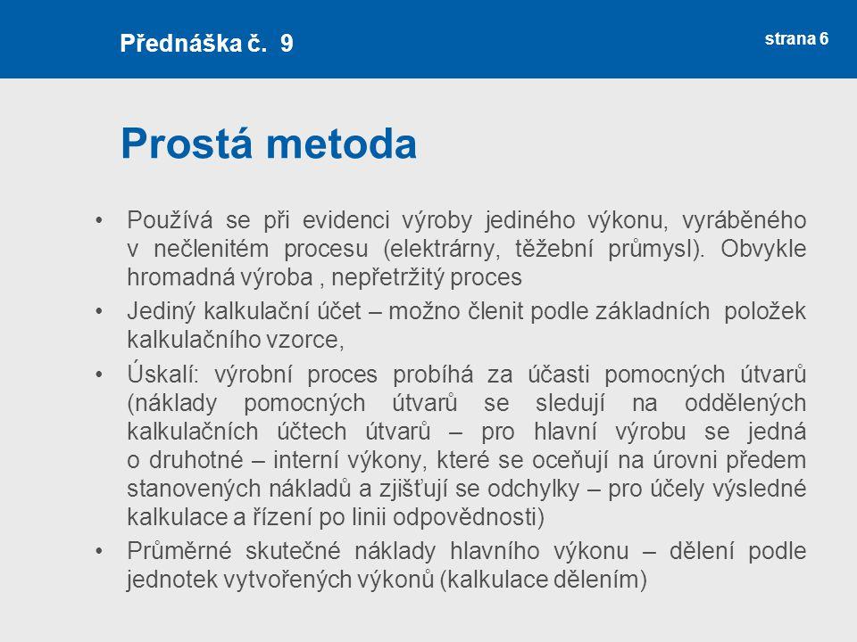Výsledná kalkulace nápoj strana 37 Přednáška č.