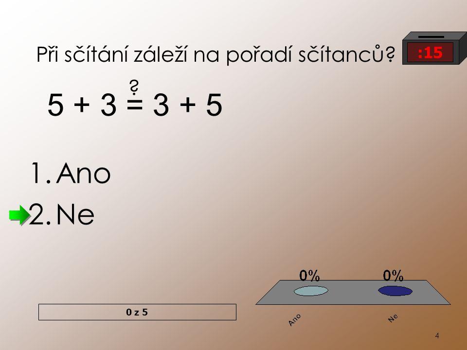 4 Při sčítání záleží na pořadí sčítanců? 1.Ano 2.Ne 5 + 3 = 3 + 5 ? 0 z 5 :15