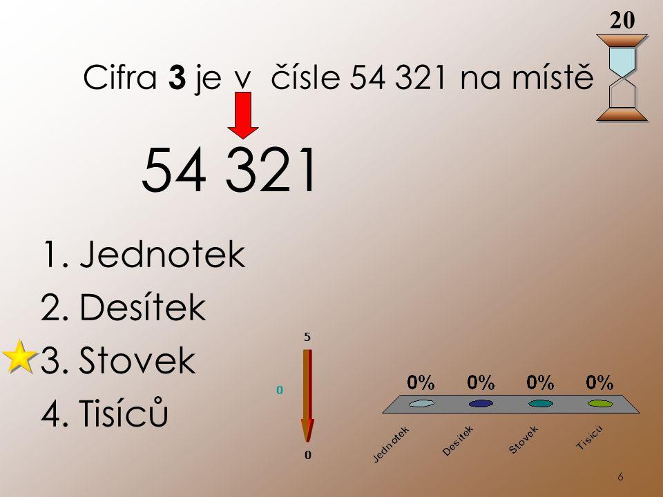 6 Cifra 3 je v čísle 54 321 na místě 1.Jednotek 2.Desítek 3.Stovek 4.Tisíců 54 321 20 0 0 5