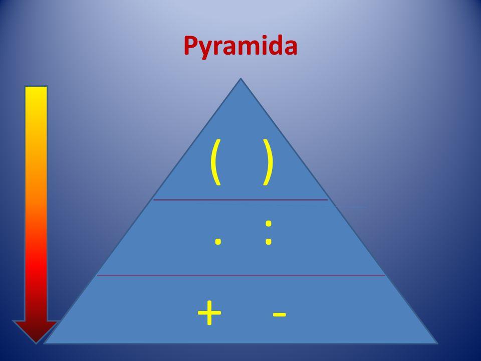 Pyramida závorky násobení, dělení sčítání, odčítání