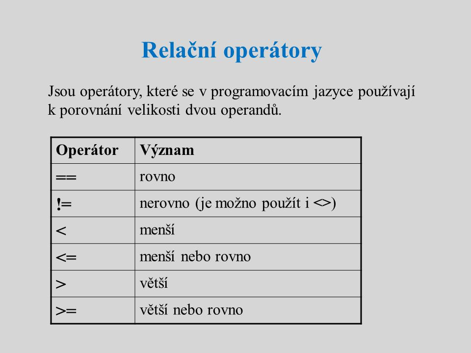 Relační operátory Jsou operátory, které se v programovacím jazyce používají k porovnání velikosti dvou operandů. OperátorVýznam == rovno != nerovno (j