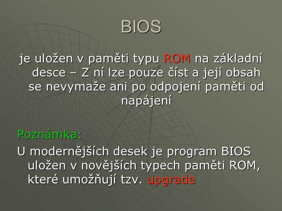 BIOS je uložen v paměti typu ROM na základní desce – Z ní lze pouze číst a její obsah se nevymaže ani po odpojení paměti od napájení Poznámka: U moder