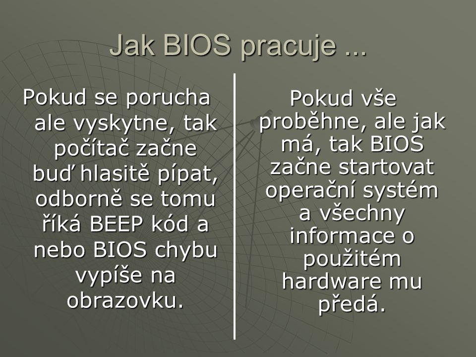Jak BIOS pracuje... Pokud se porucha ale vyskytne, tak počítač začne buď hlasitě pípat, odborně se tomu říká BEEP kód a nebo BIOS chybu vypíše na obra